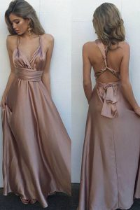 Shining Pink A-line Pleated Prom Dresses Criss Cross Satin Sleeveless Floor Length
