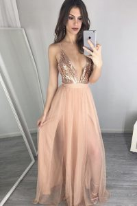 Floor Length Zipper Prom Gown Peach for Prom with Sequins and Pleated