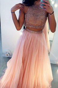 Superior Peach A-line Tulle High-neck Sleeveless Beading With Train Side Zipper Evening Dress Sweep Train