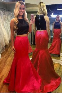 Designer Scoop Floor Length Mermaid Sleeveless Red And Black Evening Dress Zipper