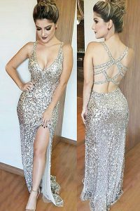 Noble Mermaid Sequined Sleeveless Floor Length Pageant Gowns and Sequins