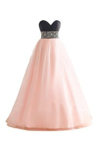 Pink And Black Lace Up Sweetheart Beading Prom Dress Organza Sleeveless