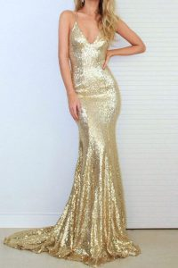 Mermaid Gold Criss Cross Spaghetti Straps Sequins Prom Dress Sequined Sleeveless Sweep Train