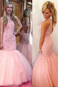 Hot Sale Mermaid Scoop Pink Backless Prom Dresses Lace Sleeveless Floor Length