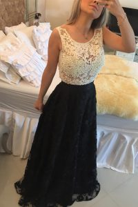 Scoop White And Black Sleeveless Floor Length Beading and Lace Side Zipper Dress for Prom