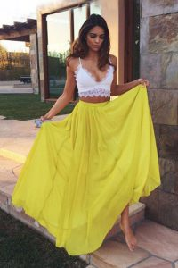 Yellow Sleeveless Ruching Floor Length Prom Dress