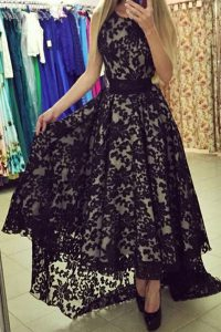 Scoop Black Sleeveless Lace Zipper for Prom