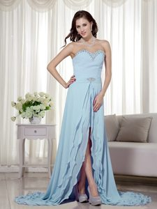 Gorgeous Baby Blue Zipper-up Chiffon Prom Formal Dresses with High Slit