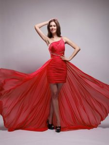 Red Asymmetrical One Shoulder High-low Unique Prom Dress for Women