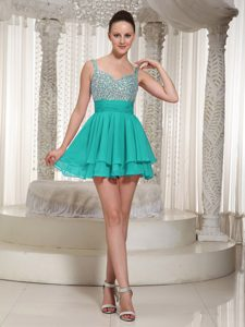 Spaghetti Beaded Zipper-up Fabulous Prom Nightclub Dresses in Turquoise