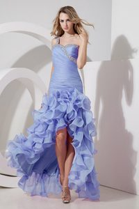 Discount One Shoulder High-low Beaded and Ruched Prom Dress in Lilac