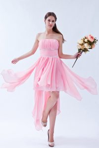 Beautiful Pink Strapless Dresses for Prom with Beadings and Ruches