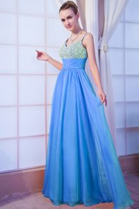 Pretty V-neck Beading Prom Celebrity Dress with Spaghetti Straps in Aqua Blue