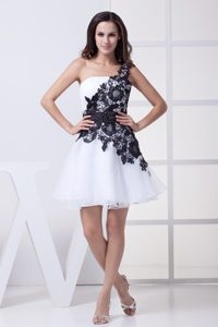 White and Black One Shoulder 2013 Prom Dresses with Sash and Lace