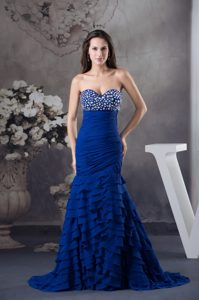 Sweetheart Ruched and Beaded Senior Prom with Ruffled Layers in Royal Blue