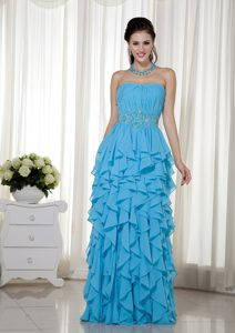 Strapless Ruched Chiffon 2013 Dress for Prom Court with Ruffles in Aqua Blue