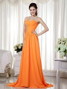 Sweetheart Brush Train Chiffon Prom Dresses for Girls in Orange with Beadings
