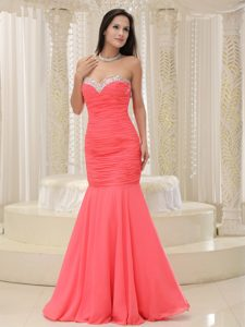 Mermaid Sweetheart Prom Holiday Dresses in Coral Red with Ruches and Beads