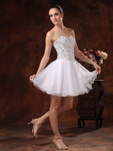 Sweetheart Beaded Prom Celebrity Dress with Mini-length in White on Promotion