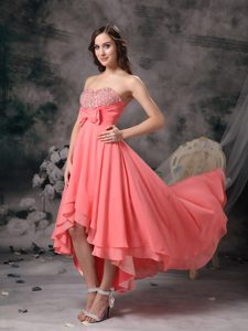 High-low Sweetheart Prom Party Dress with Beads and Bowknot in Watermelon