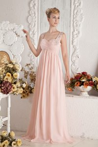 Cheap Baby Pink Empire Straps Prom Celebrity Dress with Ruches and Beadings