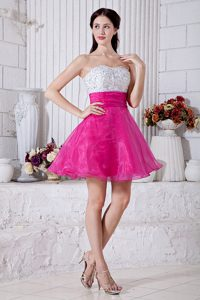 A-line Sweetheart Short Prom Court Dresses with Beads in Hot Pink and White