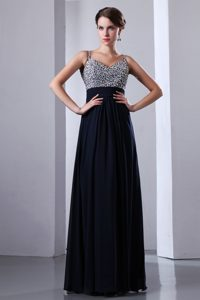 Dark Navy Blue Chiffon Prom Dress for Girls with Beadings and Spaghetti Straps