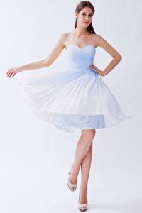 Light Blue Empire Sweetheart Short Chiffon Dresses for Prom Princess with Pleats