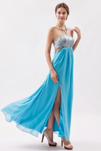 Aqua Strapless Ankle-length Chiffon Prom Dress for Women with Slit and Cutouts