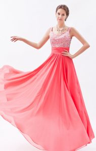 Coral Red Empire Straps Chiffon senior prom Dress for prom queen with Beading
