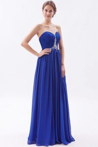 Royal Blue Empire Sweetheart Beading Prom Dresses with Brush Train