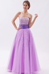 Beaded Princess Strapless Tulle Ruched Prom Dress for Girls Long in Lilac