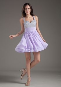 Lilac A-Line Straps 2013 Ruched Mini-length Dress for Prom Princess with Beading