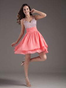 Perfect A-Line Straps 2013 Mini Watermelon Prom Dress with Beads and Ruches