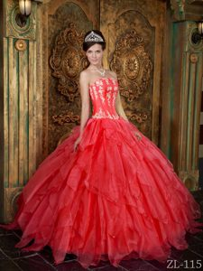 Gorgeous Strapless Appliques Coral Red Quinceanera Dresses