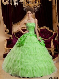 Spring Green Ruffles and Quince Dress Decorated Beading