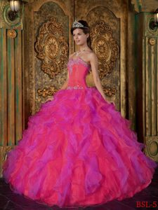 Princess Sweetheart Ruffles Low Price Red Sweet Sixteen Dresses