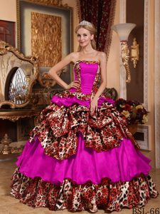 Leopard and Ball Gown Strapless Pick-ups Fuchsia Quinceanera Dress