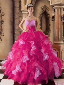 Hot Pink 2014 Quinceanera Dresses Decorated Beading and Ruffles