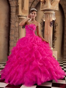 On Sale Coral Red Sweetheart Sweet Sixteen Dresses with Ruffles