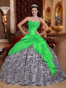Zebra and Accent Beading Sweetheart Sweet Sixteen Dress in Green