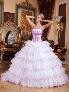 Detachable Train White Sweet Sixteen Dress with Hot Pink Appliques