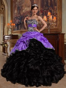 Purple and Black Sweetheart Pick-ups Quince Dresses by and