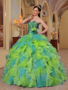 Sweetheart Beading Appliques Ruffled Quince Dresses in Green and Turquoise