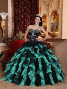 Latest Black Sweetheart Beading Quinceanera Dresses with Ruffles