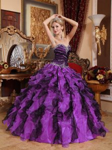 Beading Sweetheart Ruffles Purple and Black Quinceanera Dress