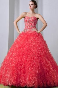 Sweetheart Beading Appliques Quince Dress in Coral Red with Brush Train