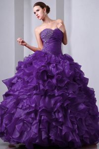 Sweetheart Beading and Ruffles Sweet Sixteen Dresses in Purple