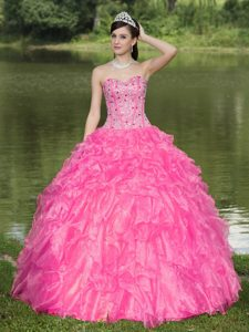 Clearance Hot Pink Sweetheart Beaded Dress for Quince with Layered Ruffles