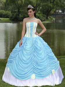 Princess Strapless Pick-ups Quinceanera Gown Dress in Baby Blue and White